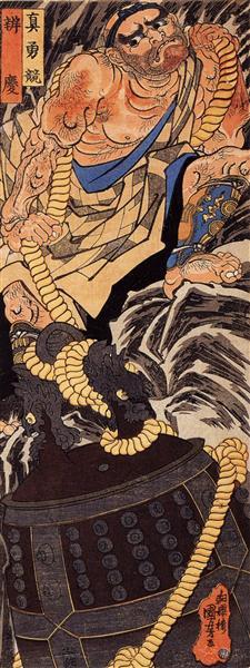 Benkei dragging the Miidera bell up a mountain - Utagawa Kuniyoshi