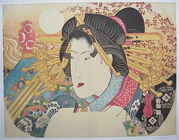 A bust portrait of a beauty, c.1823 - Utagawa Toyokuni II.