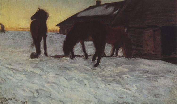 Colts at Watering Place. Domotcanovo, 1904 - Valentin Serov