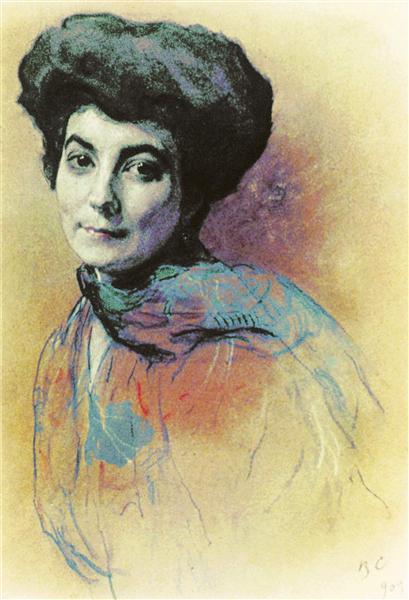 Portrait of Helena Ivanovna Roerich, 1909 - Valentin Serov