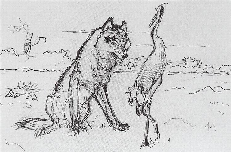 The Wolf and the Crane - Valentin Serov