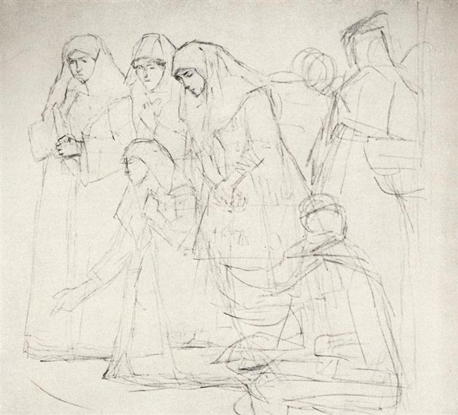"""Female figures, wanderer, whacky (Study to """"Boyarynya Morozova""""), c.1884 - Vasily Surikov"""