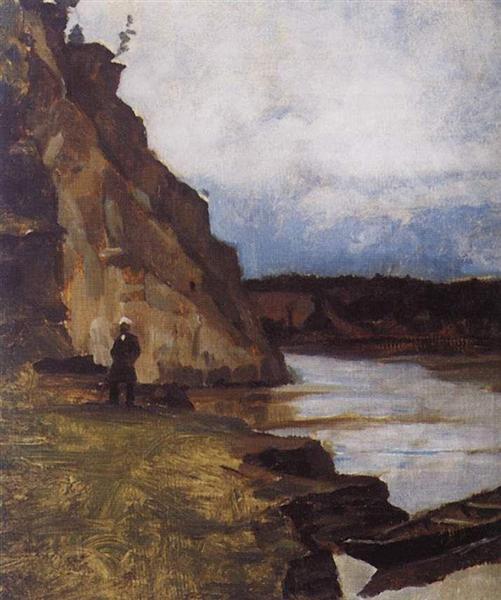 Landscape with brother's figure - Vasily Surikov