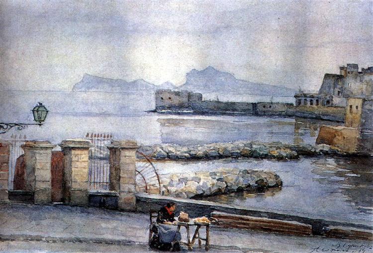Naples. Enbankment., 1884 - Vasily Surikov
