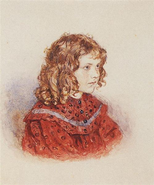 Portrait of girl with red dress, c.1894 - Vasily Surikov