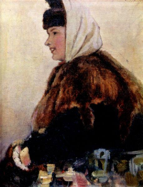 Portrait of young woman in fur coat with muff, 1890 - Vasily Surikov