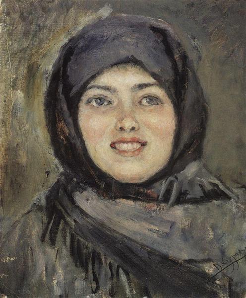The head of laughting girl, 1890 - Vasily Surikov