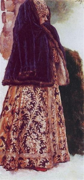 Young lady with violet overcoat, c.1886 - Vasily Surikov