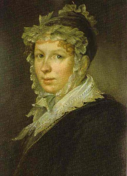 Portrait of A. I. Tropinina, the Artist`s Wife, 1809 - Vasily Tropinin