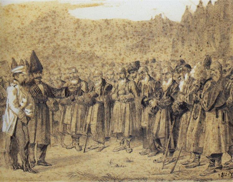Presentation of the bosses (Russian officer and Caucasians), 1863 - 1864 - Vasily Vereshchagin