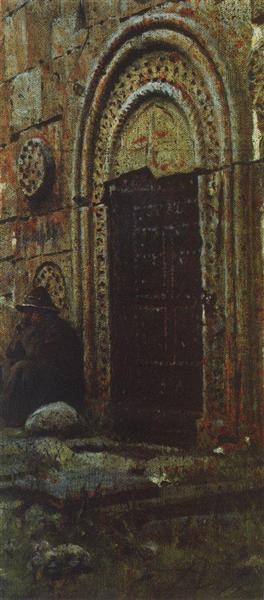 The entrance door to the church under the Kazbek, 1897 - Vasily Vereshchagin