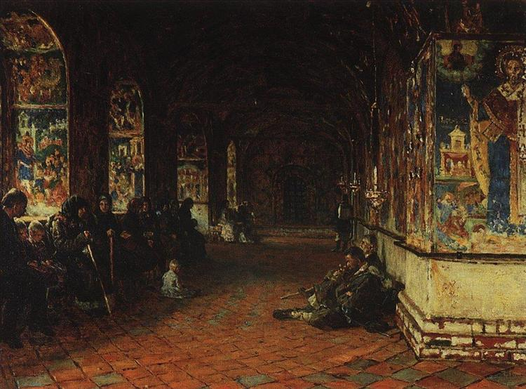The porch of the church of John the Baptist in Tolchkovo. Yaroslavl, 1888 - Vasily Vereshchagin