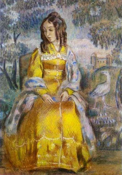 Lady Seated, with a Tapestry in the Background, 1903 - Victor Borisov-Musatov