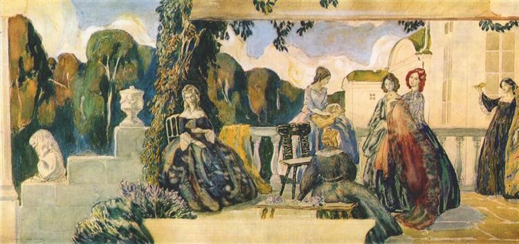 Summer Melody (sketch for a panel), c.1904 - Victor Borisov-Musatov