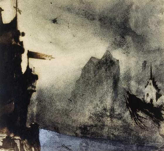Ermitage Rock in an imaginary landscape - Victor Hugo