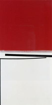 Square Motif in White and Indian Red - Victor Pasmore