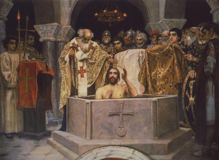 Baptism of Prince Vladimir, Fragment of the Vladimir Cathedral in Kiev, 1885 - 1893 - Viktor Vasnetsov