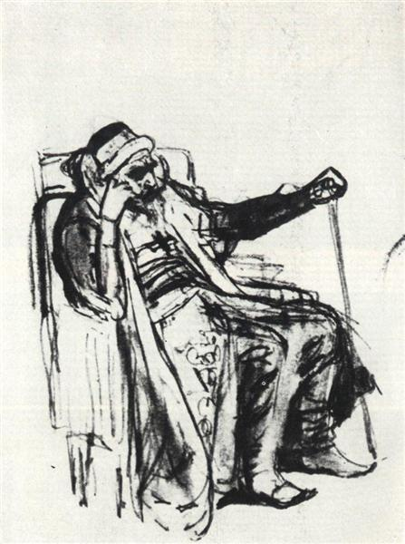 Rough outline of the image of Ivan the Terrible - Wiktor Michailowitsch Wasnezow