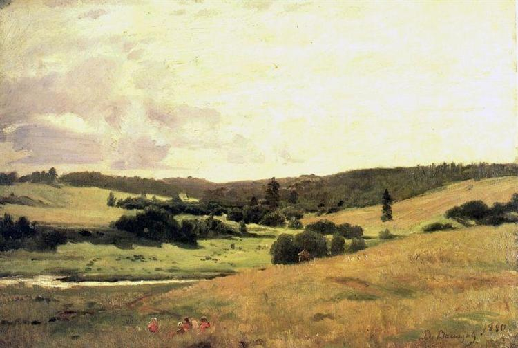 The valley of the river near the village of Vori whorl, landscape with children, 1880 - Viktor Vasnetsov