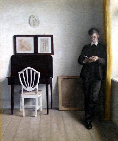 Interior with Young Man Reading, 1898 - Vilhelm Hammershoi