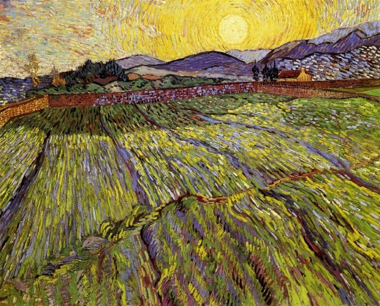 Enclosed field with rising sun, 1889 - Vincent van Gogh