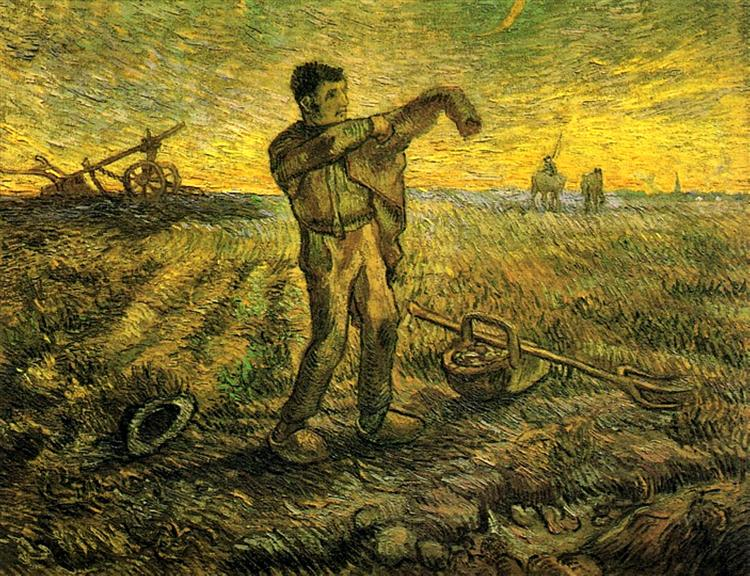 Evening - The End of the Day (after Millet), 1889 - Vincent van Gogh
