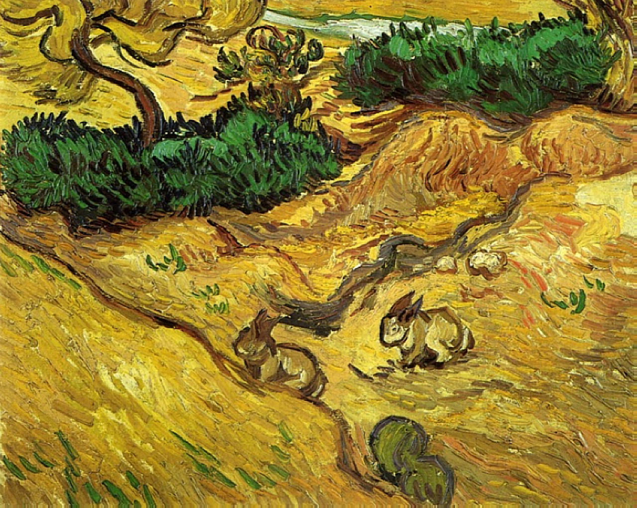 Field with two rabbits 1889 vincent van gogh for Van gogh paintings locations