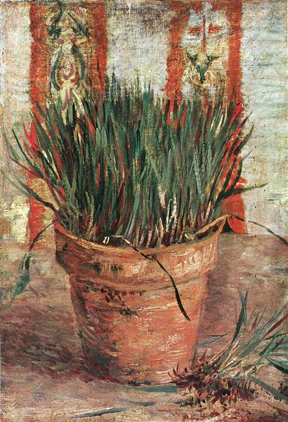 Flowerpot With Chives 1887 Vincent Van Gogh Wikiart Org
