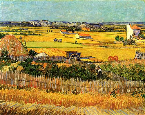 Harvest at La Crau, with Montmajour in the Background. Vincent Van Gogh, 1888. Click image to view source.