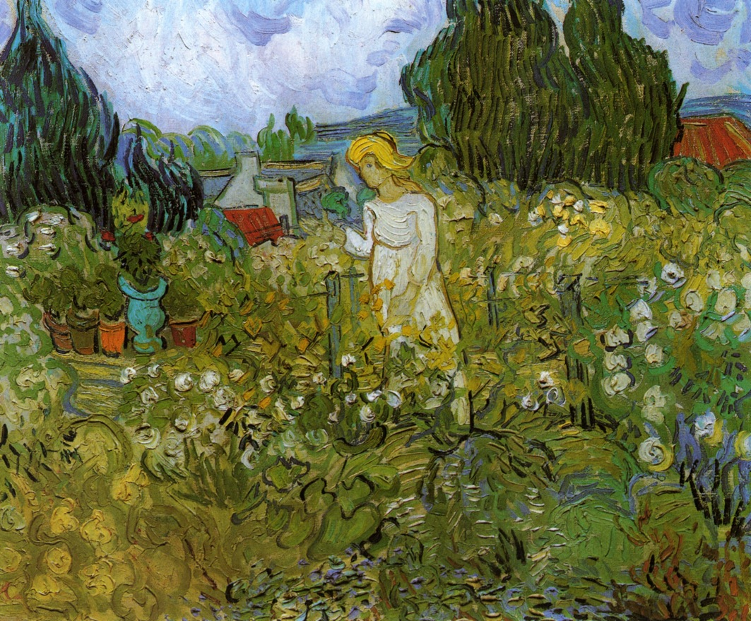 Mademoiselle gachet in her garden at auvers sur oise for Jardin a auvers van gogh