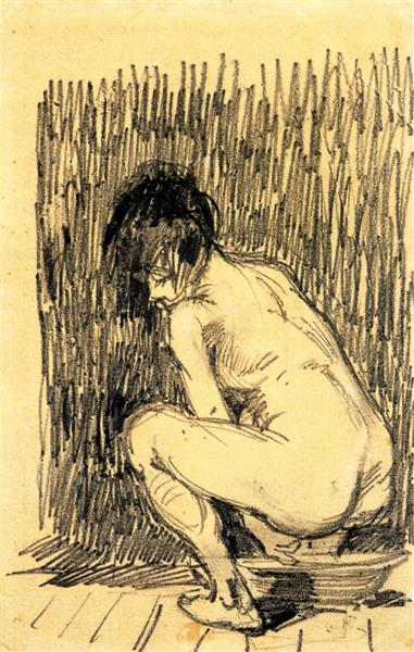 Nude Woman Squatting Over a Basin, 1887 - Вінсент Ван Гог