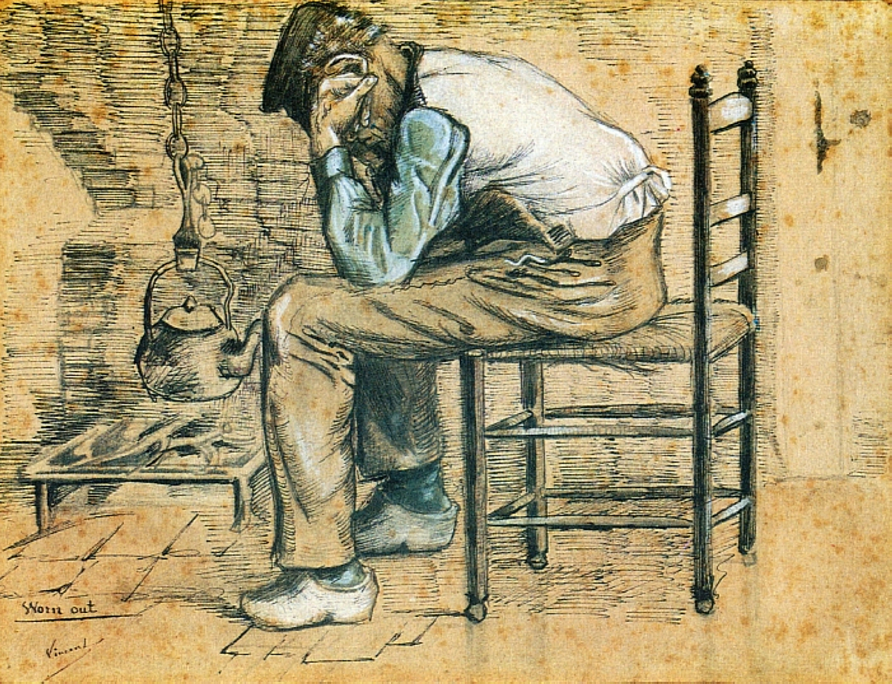 Peasant Sitting by the Fireplace (Worn Out), 1881