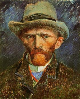 Autorretrato con un sombrero de fieltro gris, Vincent van Gogh