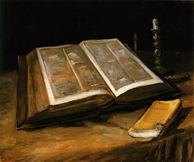 Todavía vida con la biblia, Vincent van Gogh