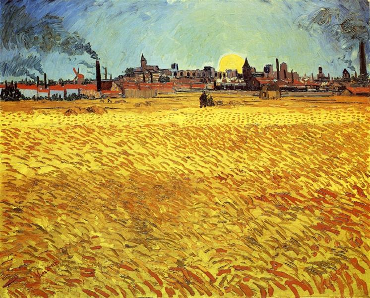 Summer Evening, Wheatfield with Setting sun, 1888 - Vincent van Gogh