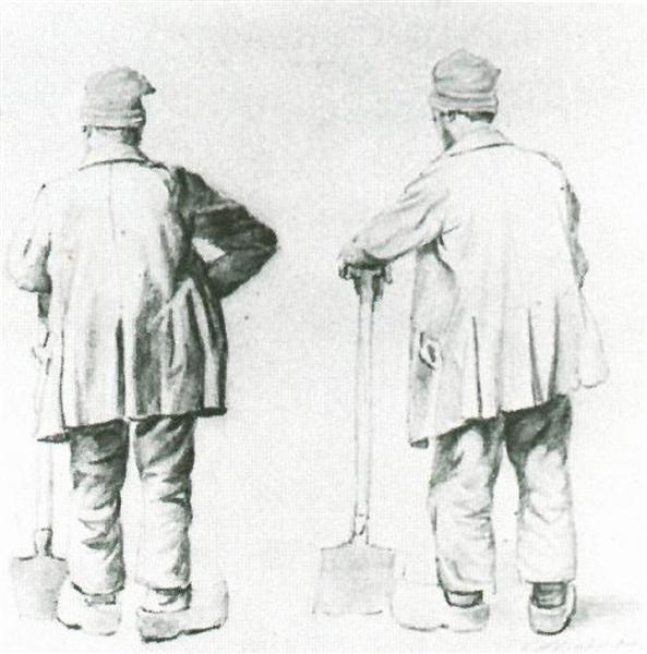 Two Sketches of a Man Leaning on His Spade, 1867 - Vincent van Gogh