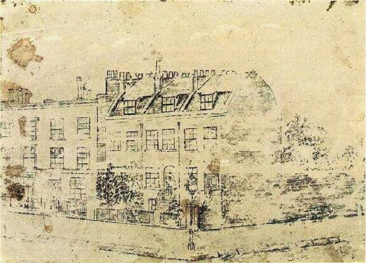 Vincent's Boarding House in Hackford Road, Brixton, London, c.1873 - Vincent van Gogh