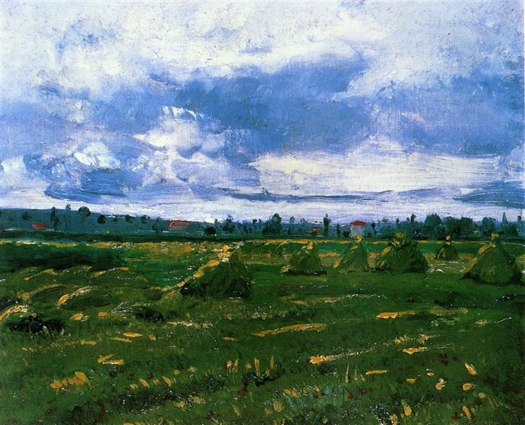Wheat Fields With Stacks 1888 Vincent Van Gogh