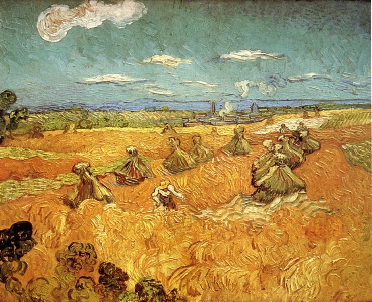 Wheat Stacks With Reaper 1888 Vincent Van Gogh Wikiart Org