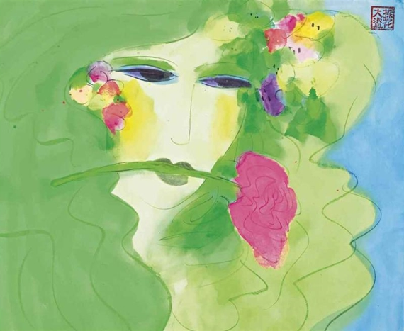 Green Lady with Pink Rose - Уоллес Тинг