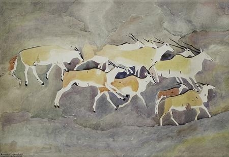 Rock art - Group of Eland, one having a crumpled horn - Walter Battiss