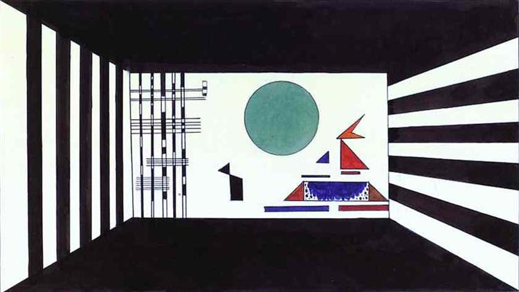 Picture II, Gnomus. (Stage set for Mussorgsky's Pictures at an Exhibition in Friedrich Theater, Dessau), 1928 - Wassily Kandinsky