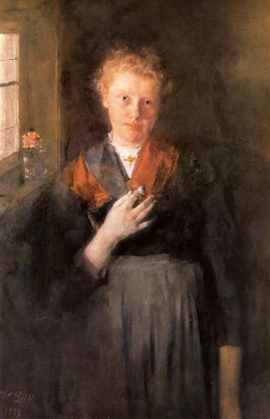 Mädchen am Fenster, 1899 - Wilhelm Leibl