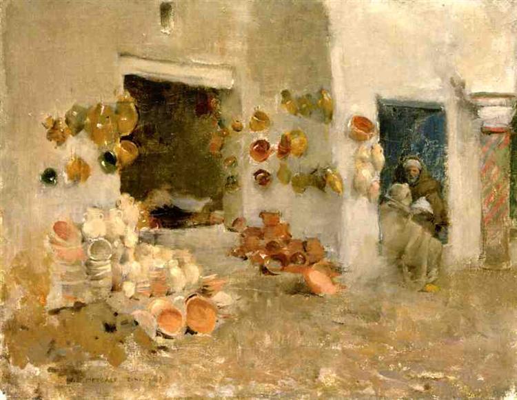 Pottery Shop at Tunis, c.1887 - Willard Metcalf