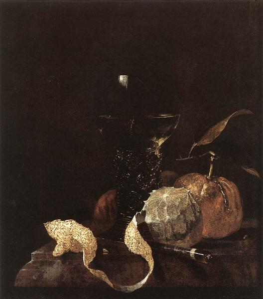Still-Life with Lemon, Oranges and Glass of Wine - Willem Kalf