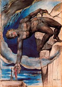Antaeus setting down Dante and Virgil in the last circle of hell - William Blake