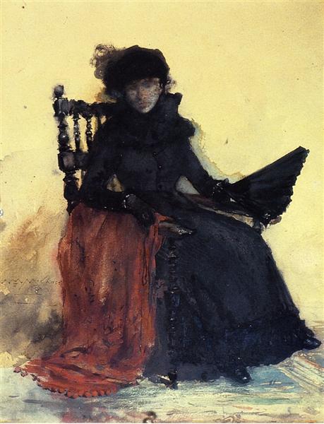 A Lady in Black (aka The Red Shawl), 1883 - William Merritt Chase