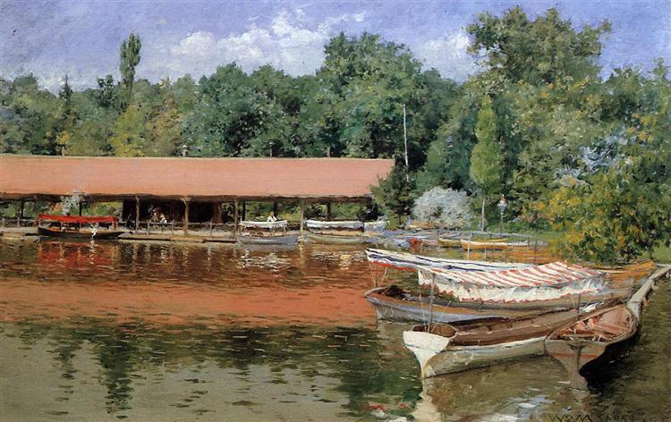Boat House, Prospect Park (aka Boats on the Lake, Prospect Park), 1887 - William Merritt Chase