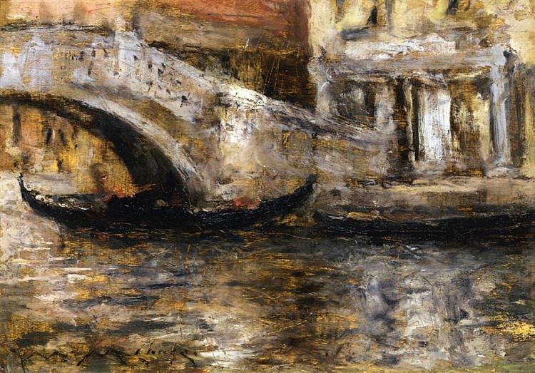 Gondolas along Venetian Canal (aka Gondola in Venice), 1913 - William Merritt Chase