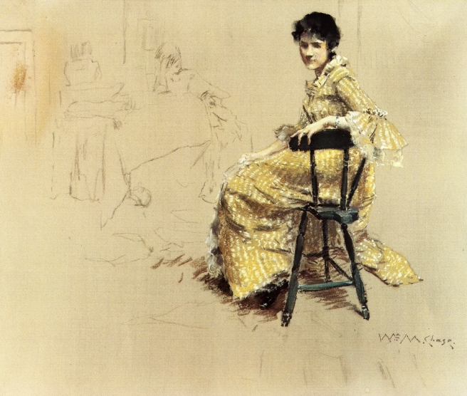 Seated Woman in Yello Striped Gown, c.1885 - William Merritt Chase